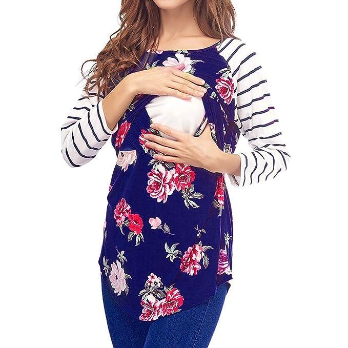 ALIKEEY La Mujer Madre Embarazada Bebe Maternidad Blusa A Rayas De Manga Larga Ropa Pijama Mujer