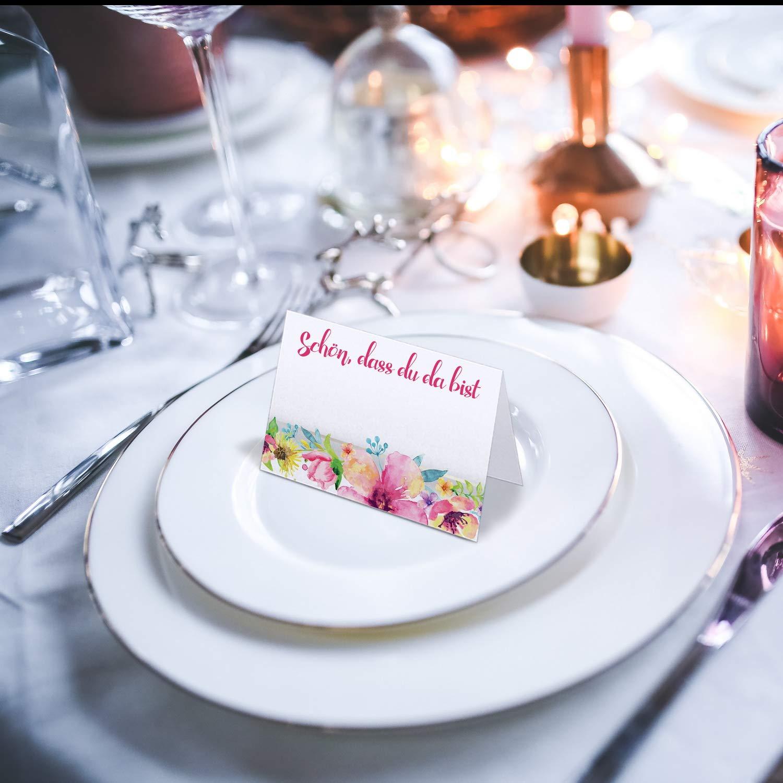 DIN A7, Blumen Kommunion Geburtstag Partycards 50 Tischkarten//Platzkarten DIN A7 f/ür Hochzeit Taufe