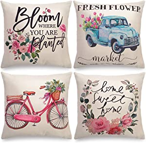 augtarlion 2 Sides Printing Set of 4 Throw Pillow Covers Home Decor Gifts, Softer Fresh Flower Market Bicycle Car Throw Pillow Covers 18x18, Linen Farmhouse Pillow Cover for Sofa Bed Couch Pillows