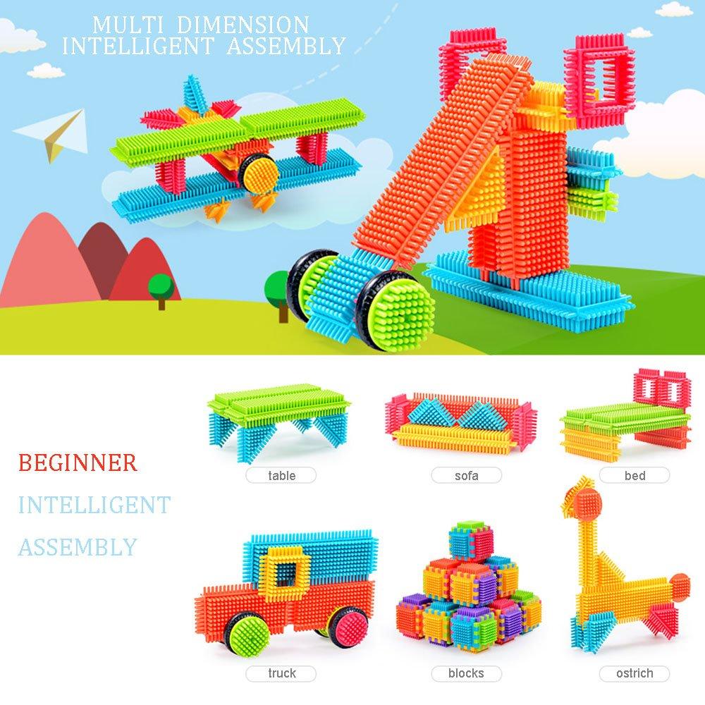 Big Bristle Shape 3D Building Blocks Tiles Construction Toy Set with Bag for Boys Girls 3 Years GODR7OY Creativity Building Toys Dexterity Fine Motricity