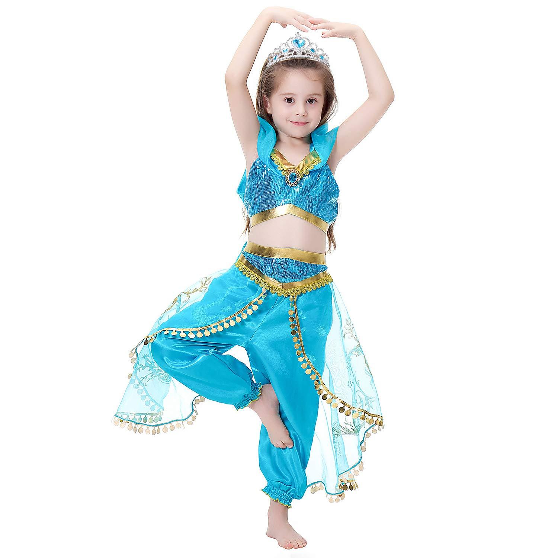 5-6 a/ños Tacobear Disfraz Jasmine Ni/ña con Tiara Varita M/ágica Princesa Jasmine Vestido Traje Princesa Jasmine para Halloween Cosplay Fiesta Carnaval