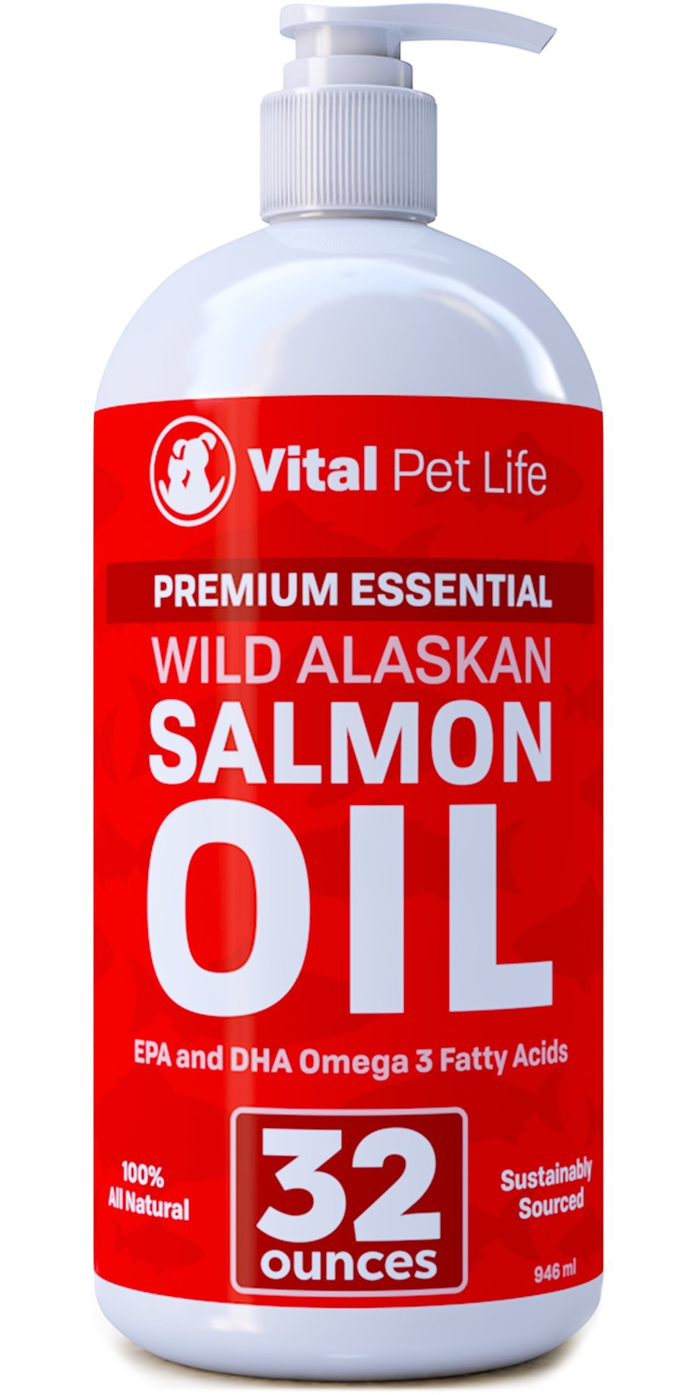 Salmon Oil for Dogs, Cats, and Horses, Fish Oil Omega 3 Food Supplement for Pets, Wild Alaskan 100% All Natural, Helps Dry Skin, Allergies, and Joints, Promotes Healthy Coat, Helps Inflammation, 32 oz by Vital Pet Life