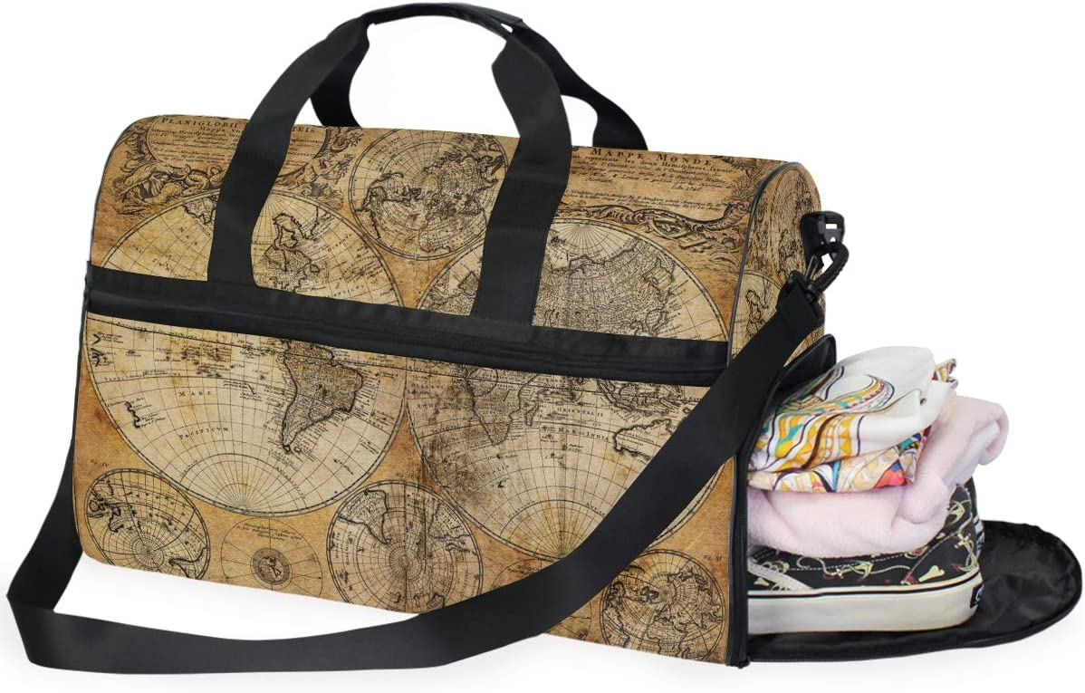 TFONE Vintage World Map Print Duffel Bag Sports Gym Weekend Bags with Shoe Compartmen
