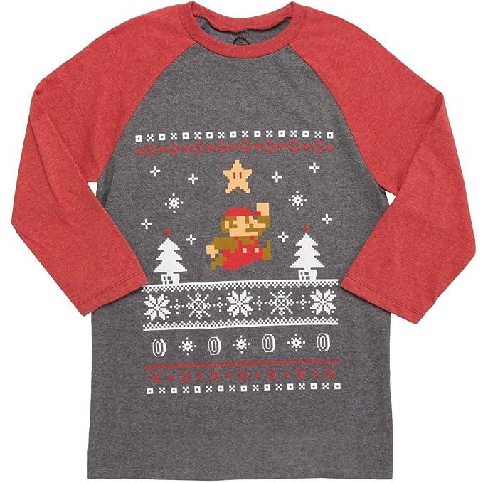 Fifth Sun Nintendo Mens Mario Ugly Christmas Sweater Baseball Tee