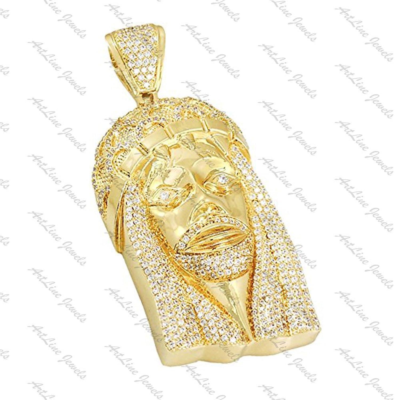 """Artline Jewels 18 Kイエローゴールドメッキ合金ラウンドカットダイヤモンドイエスペンダントwith Free 18 """"チェーン B0764FGJTV"""