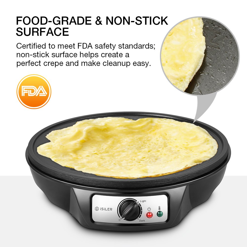 Electric Crepe Maker, iSiLER 1080W Electric Pancakes Maker Griddle, 12'' Electric Nonstick Crepe Pan with Batter Spreader & Wooden Spatula, Precise Temperature Control for Roti, Tortilla, Eggs, BBQ by ISILER (Image #3)