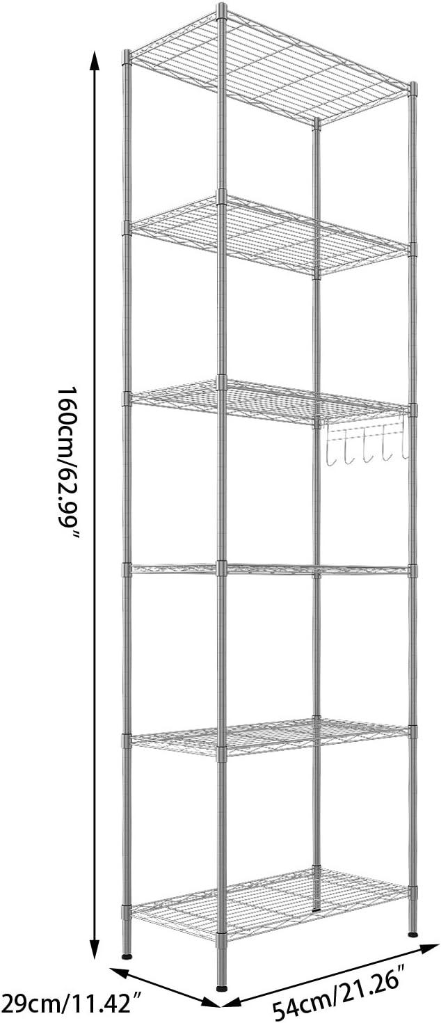 5 Tiers Metal Wire Storage Shelf Home Office Organizer Rack Shelving Unit 160cm