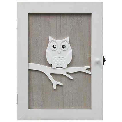 Armario de llaves gabinete de llaves armario de pared de búho 21x28x7 cm con 6 ganchos de llavero tablero de llaves de llavero - naturaleza / blanco