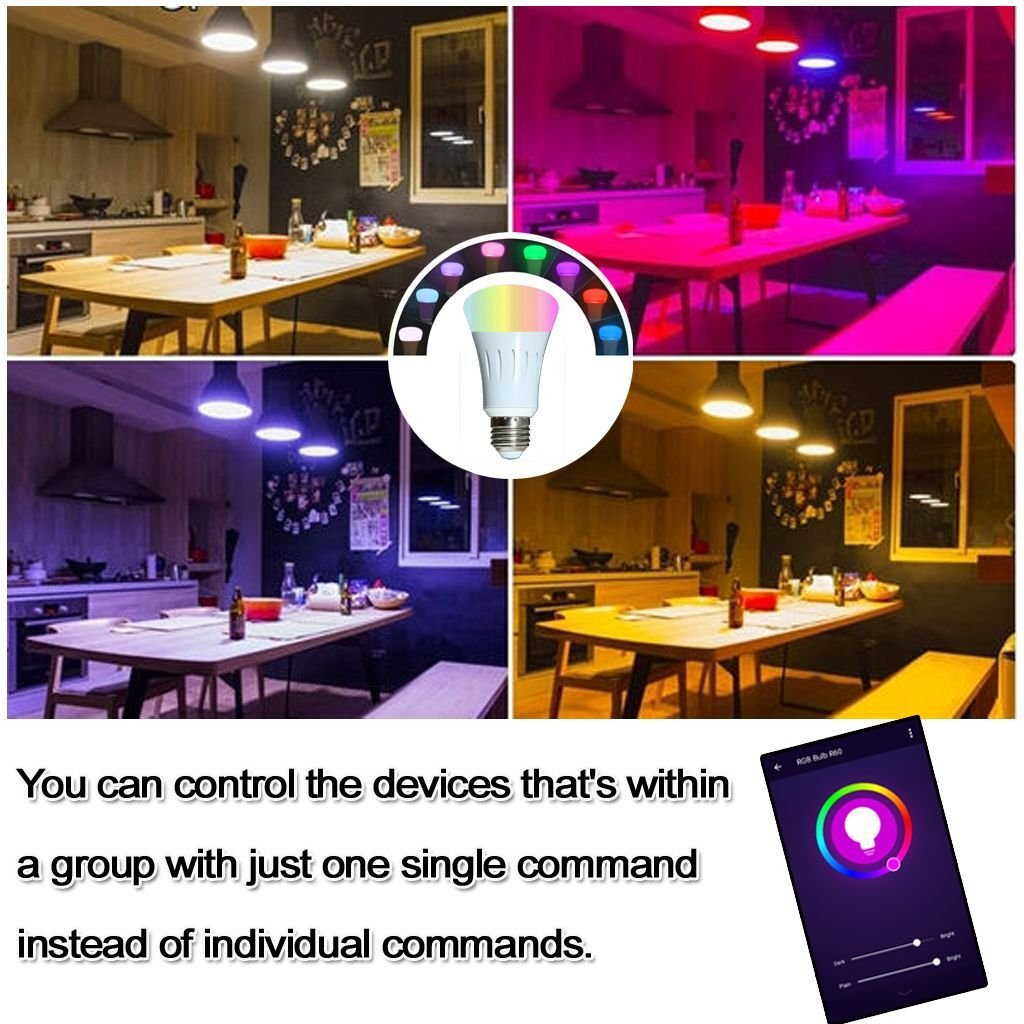 Smart Light Bulb,Works with Alexa,Dimmable Multicolored Color Changing Lights,Smartphone Free APP Control,7W New Version (White) by Foeska (Image #3)