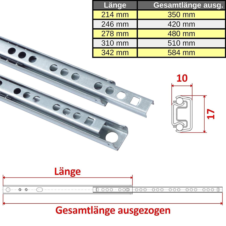 L/änge: 342 mm 1 Paar 1 Paar 17 mm Teleskopschienen Schubladenschienen Schubladenauszug Teilauszug