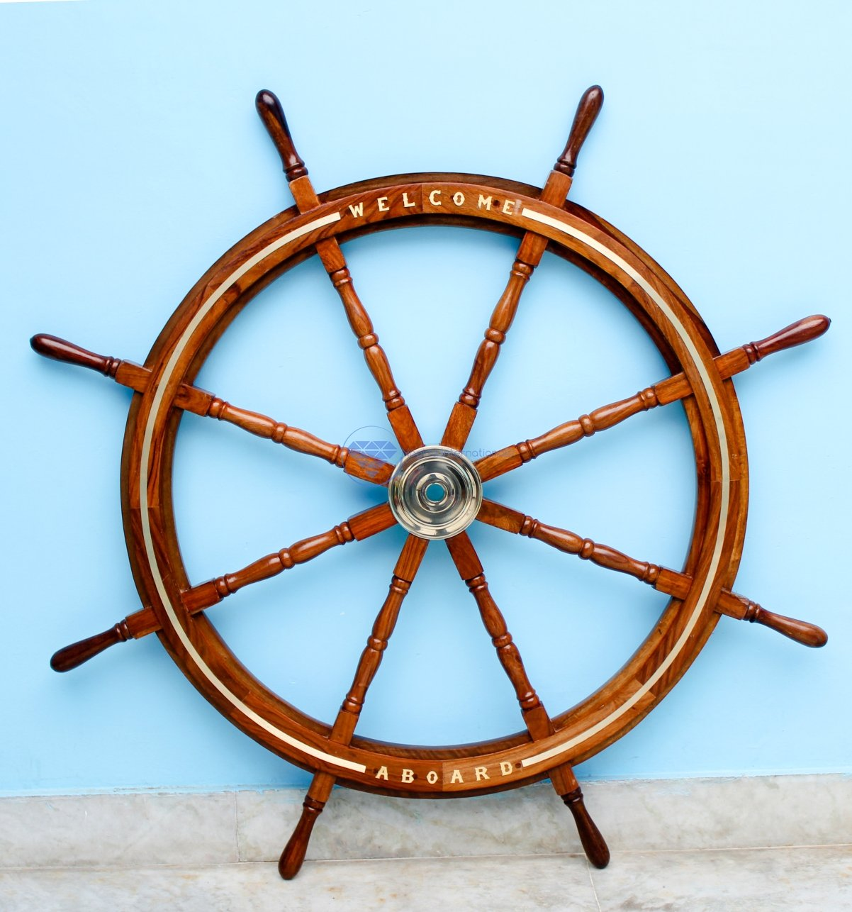Welcome Board Embedded Premium Nautical Handcrafted Ship's Wheel With Solid Brass Ring Inlaid   Premium Wall Decor Gifts   Nagina International (72 Inches)