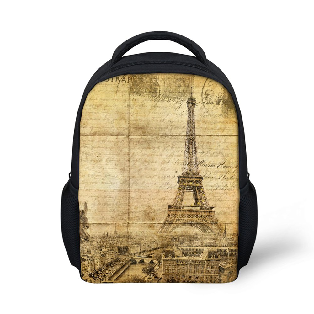 Hoijay Preschool Backpack, Little Kid Backpacks for Boys and Girls Eiffel Tower Postcard