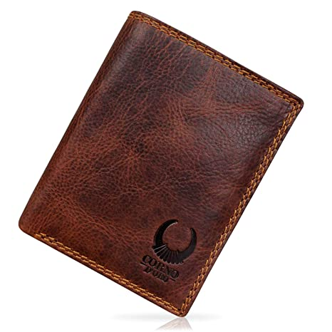 8fb05e6fda678 Geldbörse Herren Leder I Geldbeutel mit TÜV-zertifiziertem RFID Schutz I  Schlanke Echtleder Brieftasche mit