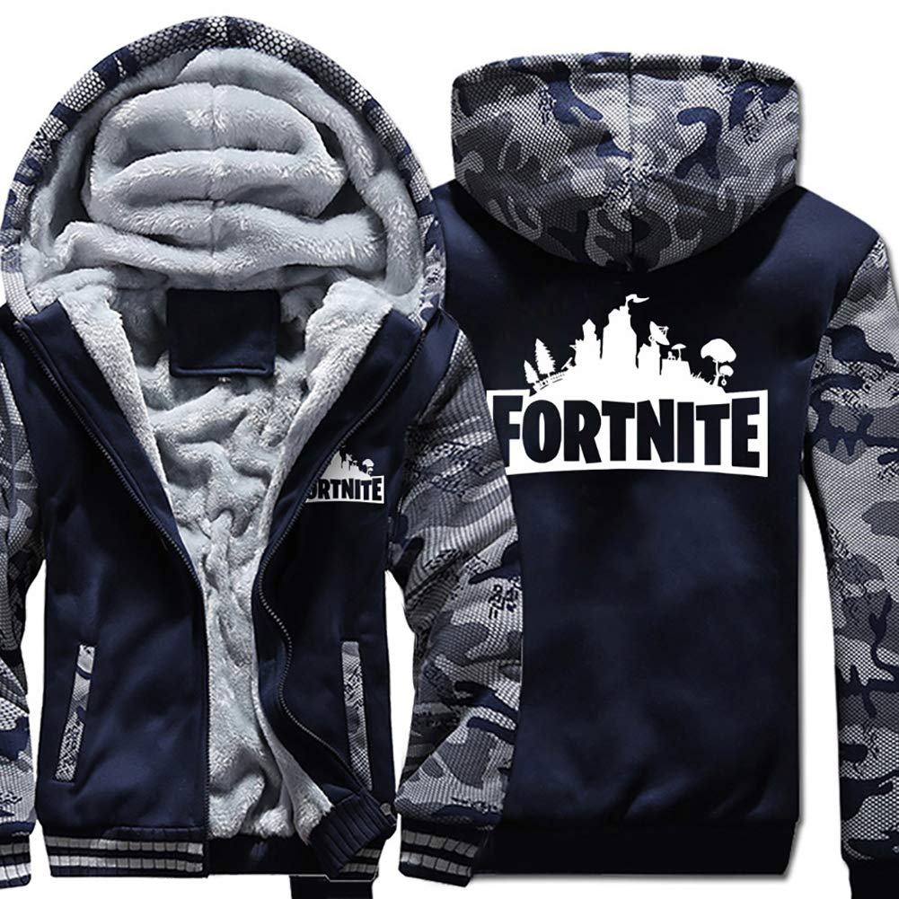 AUKUK Fortnite Winter Jacket Fortnite Hoodie Men Sweatshirt Zipper Winter Plus Velvet Thicken Jacket Coats for Fortnite Fans (NY, M) by AUKUK