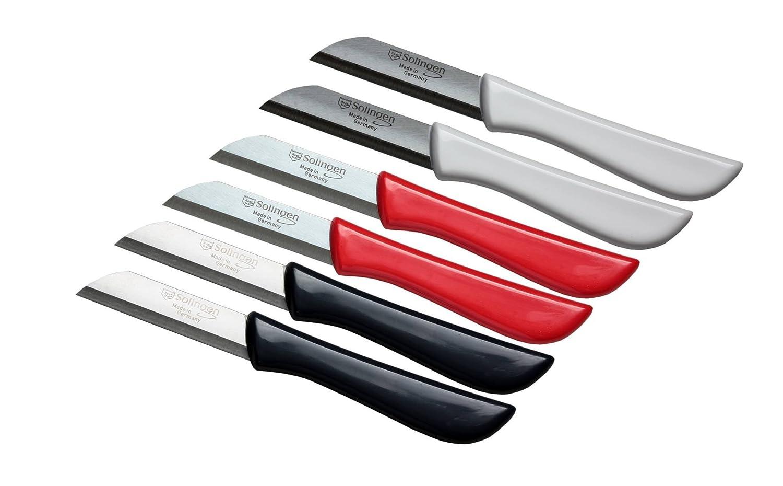 6er Set Gemüsemesser scharf / Küchenmesser / Schälmesser / Obstmesser - Bandstahl Elegance Serie rot / grau / weiß Solingen Germany (bunt-grau-weiß-rot) Schwertkrone