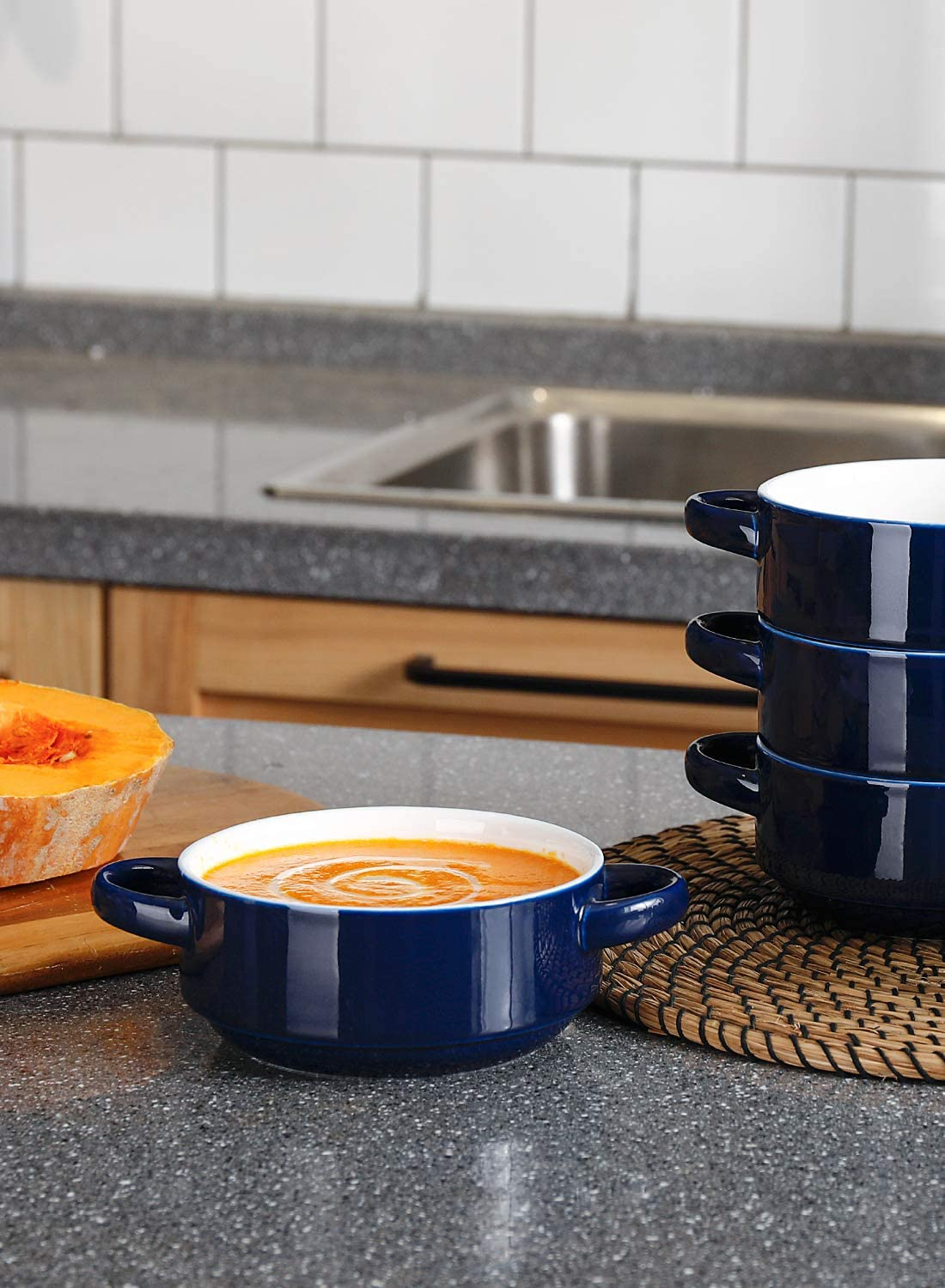 Black Sweese 108.412 Porcelain Bowls with Handles 20 Ounce for Soup Set of 4 Stew Cereal