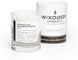 Wixology Cocktail Inspired Bourbon Soy Candles - Scented Candles in Reusable Rocks Glass - Made in Kentucky - 7 oz (Coffee & Bourbon Cream)