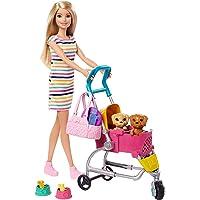 Barbie GHV92 - Barbie Loop en Speel Pups Speelset met Barbie Pop, 2 Puppy's en Hondenbuggy, meerkleurig