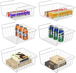 Under Shelf Basket, White Wire Storage Basket for Pantry Organization and Storage Anti Rust Wire Rack for Cabinet Closet Desk Bookshelf Cupboard, 6 Pack