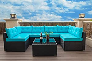 Allewie 7 Pieces Patio Sofa Set Outdoor Furniture Sectional All-Weather Wicker Rattan Sofa with Back Cushions, Garden Lawn Pool Backyard Outdoor Sofa Conversation Set, Aqua Blue