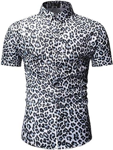 HCFKJ Camisetas Hombre Blusa De Manga Larga con Estampado De Leopardo A Rayas De Manga Corta De Moda para Hombre: Amazon.es: Ropa y accesorios