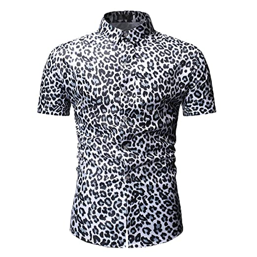 c23c07ccf1cf1a F_Gotal Shirt for Mens, Men's Short Sleeve Leopard Print Large Size Top Big  and Tall Slim Fit Tees Blouse Tops T-Shirt | Amazon.com