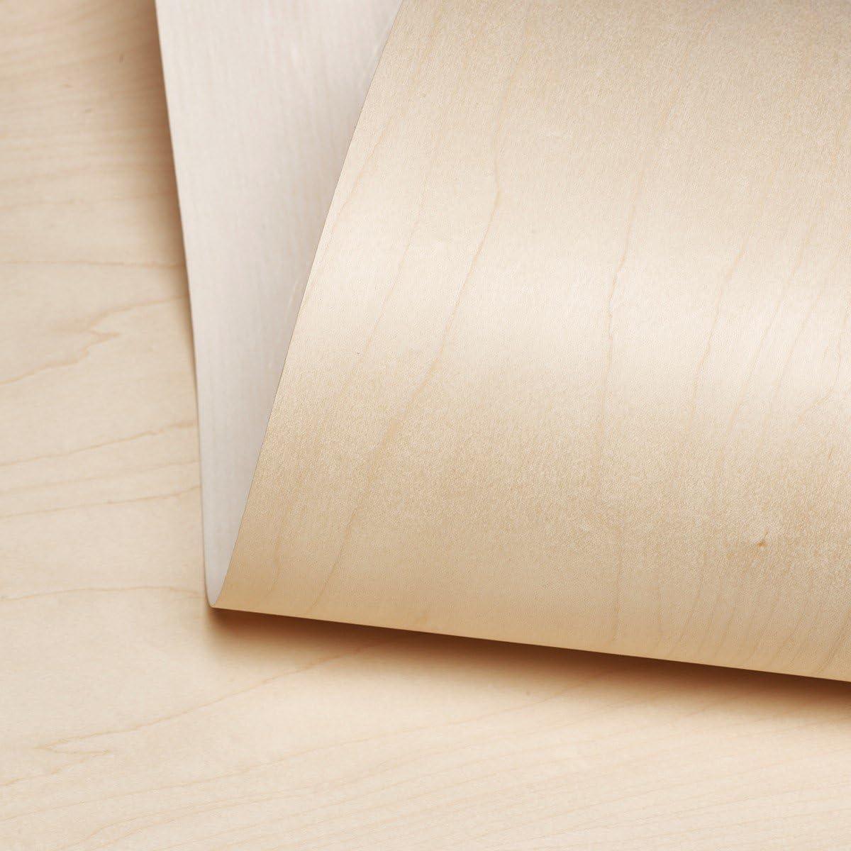 "Edge Supply Maple Wood Veneer Sheet Flat Cut, 24"" x 96"", Peel and Stick, ""A"" Grade Veneer Face – Easy Application with 3M Self Adhesive Maple Veneer Sheet– Veneer Sheets for Restoration of Furniture"