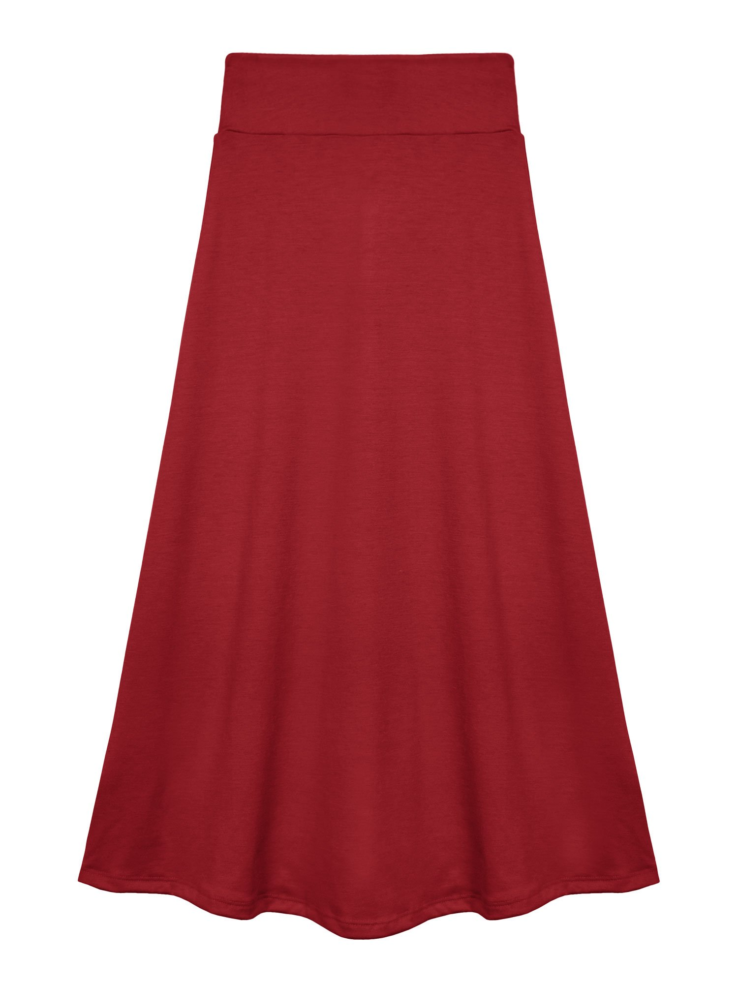 Bello Giovane Girls 7-16 Years Solid Maxi Skirt (Small, Red)
