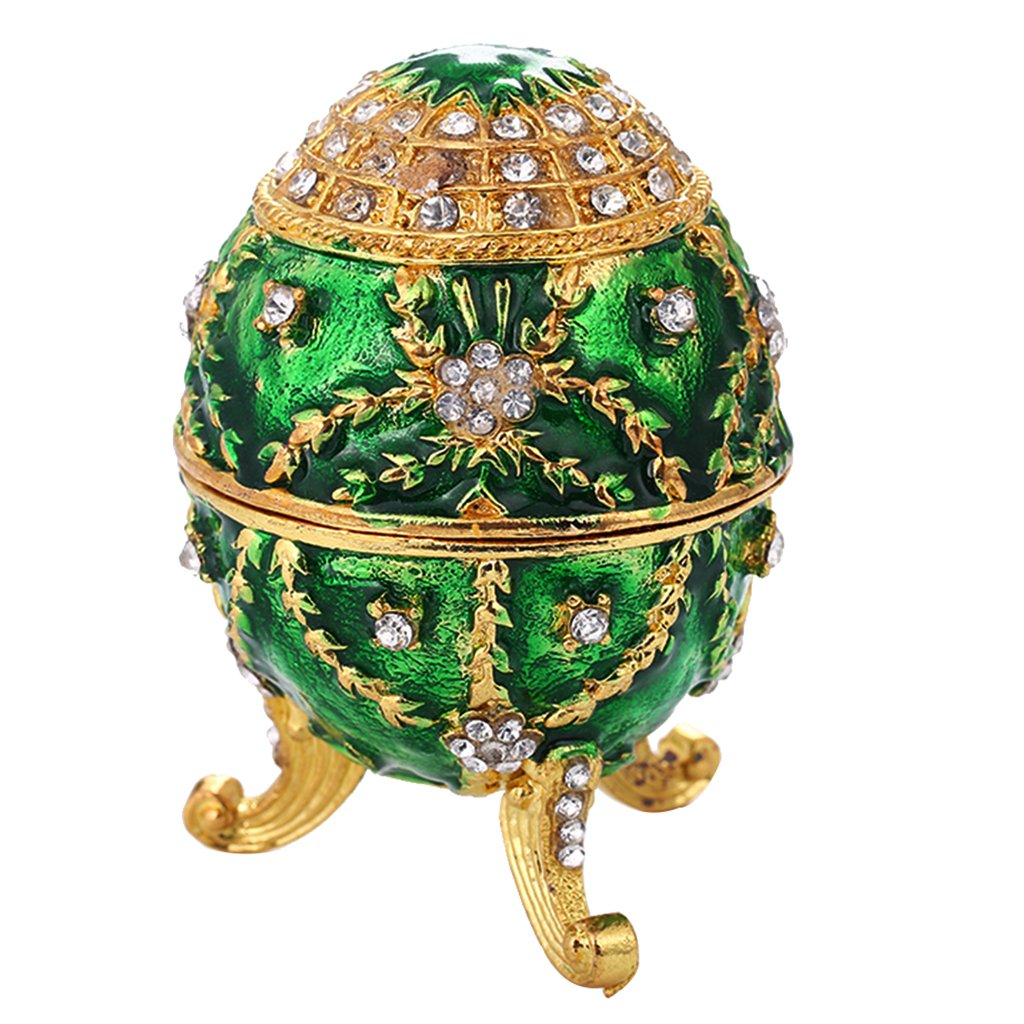 Baosity Enamel Green Flower Jewelry Box Faberge Box Decoration Easter Egg