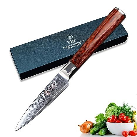 YARENH Cuchillos para Pelar 9 cm,Cuchillo de Cocina de Acero de Japonés Damasco,Mango de Madera Pakka,Cuchillo de Chef Ultra Filoso HYZ-Serie