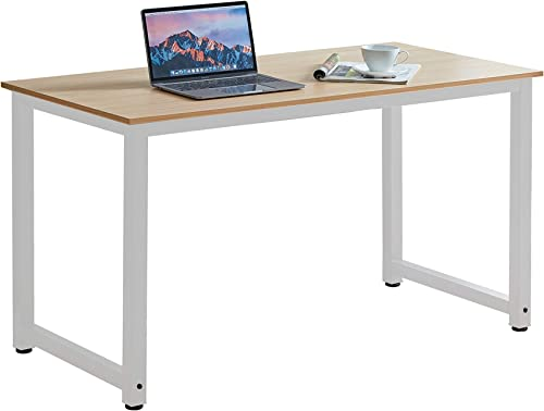 Halter Portable Simple Metal Wood Desk Easy Assembly Multipurpose Assembled Small Desk Laptop Desk, Home Office Desk, Bedroom Living Room Desk Urban Modern Minimalist Style Walnut-White