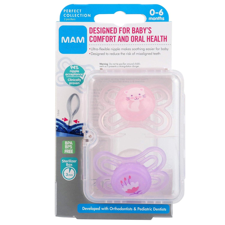 Amazon.com: MAM Perfect 2 piezas Baby Pacifier, Niña, 0-6 ...