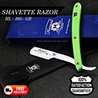 BARBER STYLE MEN'S SHAVETTE RAZOR/STRAIGHT CUT THROAT RAZOR IN GREEN COMES WITH A LEATHER POUCH(No Blades Included)