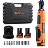 """TACKLIFE Cordless Electric Ratchet Wrench 3/8"""" 45 Ft-lbs Li-Ion Batteries 60-Min Fast Charge Power Ratchet Wrench Tool…"""
