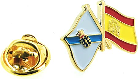 Pin de Solapa Bandera de Galicia y Bandera de España: Amazon.es: Hogar
