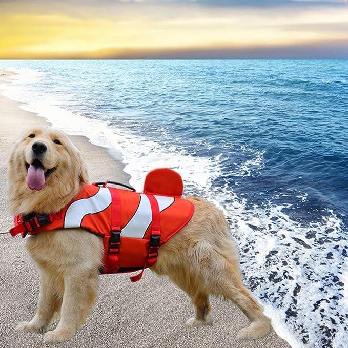 HYGMall 1PC Supplies traje impermeable sólido para mascotas chaleco salvavidas medio tiburón estilo flotación chaleco ajustable perro salvavidas reflexivo ...