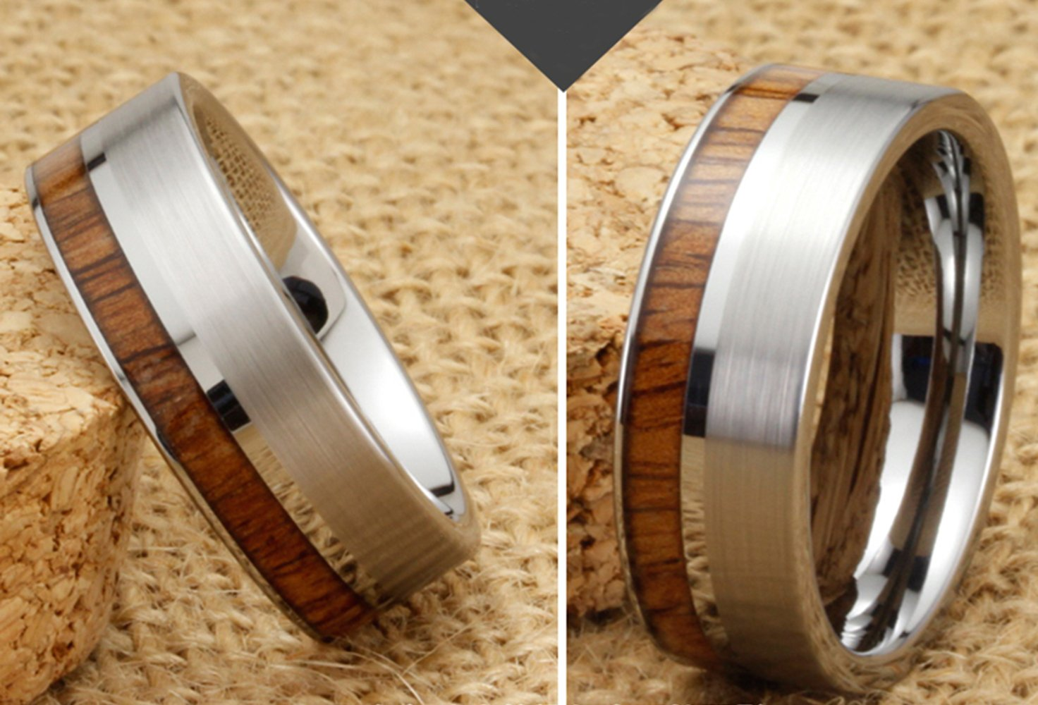 Men Women Tungsten Silver Couple Ring Vintage Wedding Engagement White Band with 100% Koa Wood Flat Top by Fashion Month (Image #3)