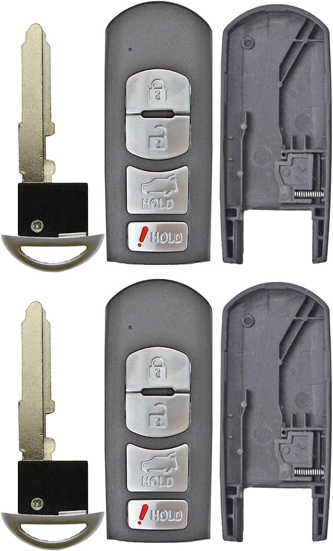 QualityKeylessPlus Replacement Remote Case 4 Button Pad Uncut Insert Key Blade for Mazda Smart Proximity Fob FCC WAZX1T763SKE11A04 WAZSKE13D01 WAZSKE13D02 1