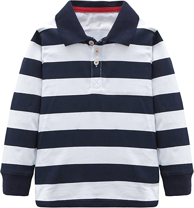 724784700d HowJoJo Toddler Boys Cotton Long Sleeve T-Shirts Striped Polo Shirts Blue 3T