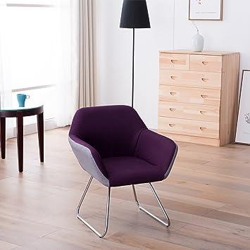 Moderner Designer Wohnzimmer Esszimmerstuhl Relaxstuhl Loungesessel Stuhl  Sessel Grau Lila, Farbe:Grau/ Lila