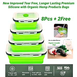 Natural's House 3.O Collapsible and Reusable Insulated Food Preserving Storage Container 10Pcs(8Pcs Airtight+Free Organic Bags or Siicone Anti-Bacteria Cleaning Brush) BPA Free, FDA & SGS Approved