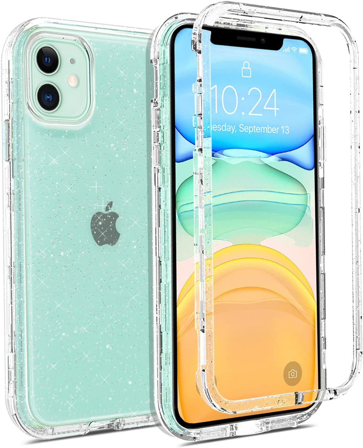 Coolwee Crystal Glitter Full Protective Case for iPhone 11 Heavy Duty Hybrid 3 in 1 Rugged Shockproof Women Girls Transparent for Apple iPhone 11 6.1 inch Shiny Clear Bling Sparkle