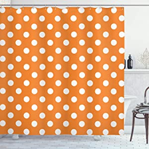 """Ambesonne Polka Dots Shower Curtain, Classic Old-Fashioned Polka Dots Continuous in Spacing and Shape 20's Design, Cloth Fabric Bathroom Decor Set with Hooks, 75"""" Long, Orange White"""