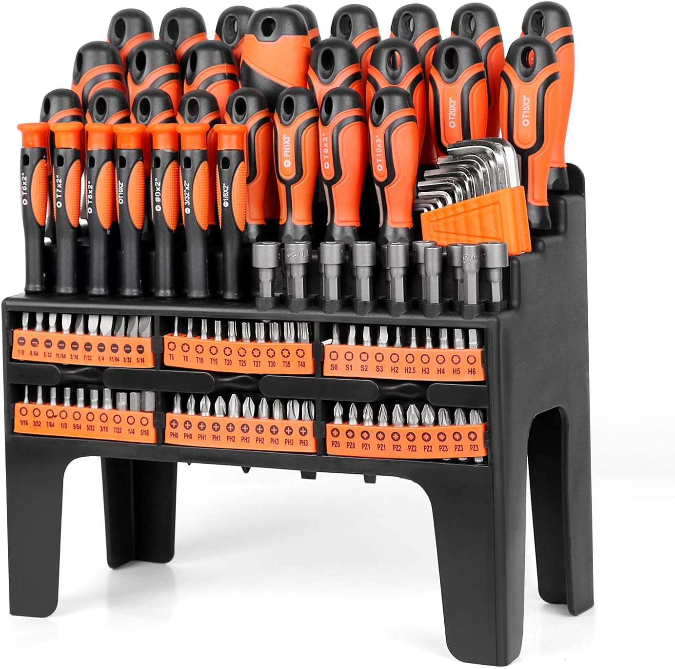 SEDY 122-Piece Magnetic Screwdriver Set with Plastic Racking, Best Tools for Men Tools Gift, Drive Magnetic Bit Holding Screwdriver Handle & Hex Key, for Home Repair, Improvement