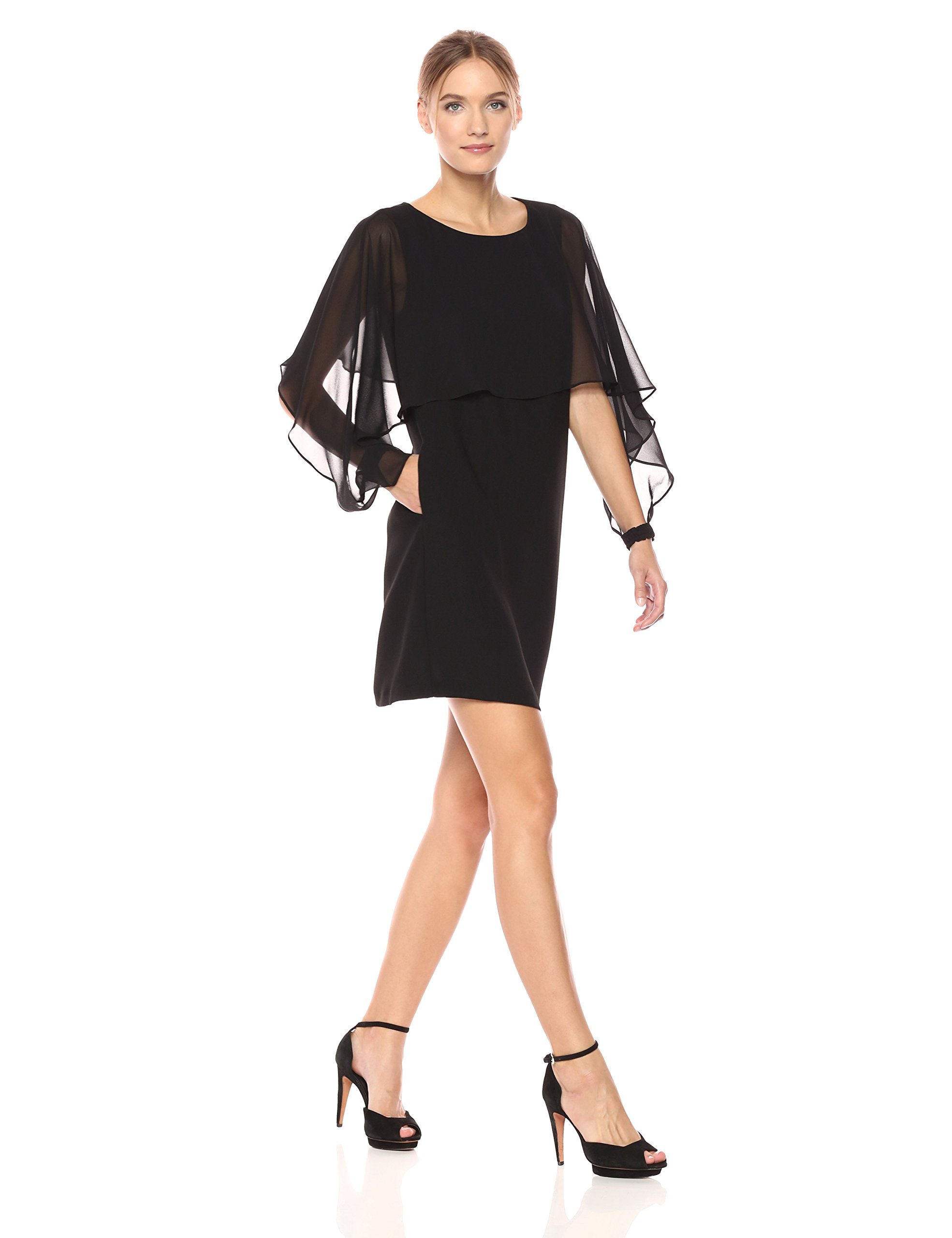 Nanette Nanette Lepore Women's Long Sleeve Shift Dress W/Chiffon Popover, Very Black, 12
