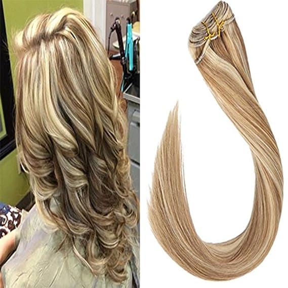 LaaVoo 16 Pulgadas Remi Cabello Trama Sew in Natural de Extensiones de Pelo Fantasia Marron Claro #8 Piano Color Rubia Platino #60 Highlighted Bundles Hair ...
