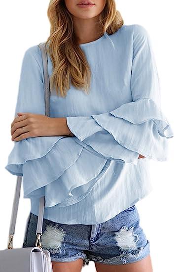 Mujeres Casual Camiseta Con Volantes De Manga Larga Tunica Plus Size Top Tee, Azul,