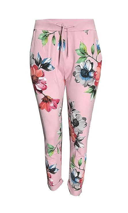 8357b43317e New Italian Women Ladies Multi Floral Print Elastic Waist Cotton Summer  Trouser Jogger Legging Pants One Size Fits 8 10 12 14 16 (One Size 8-16