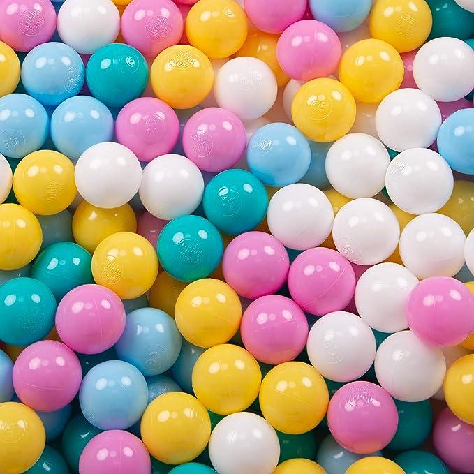 KiddyMoon 200 ∅ 6Cm Bolas Colores De Plástico para Piscina Certificadas para Niños, Blanco/Amarillo/Rosa/Azul Celeste/Turquesa: Amazon.es: Juguetes y juegos
