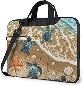 Turtles On The Beach Printed Laptop Bag,Handbag Business Laptop Shoulder Messenger Bag Briefcase